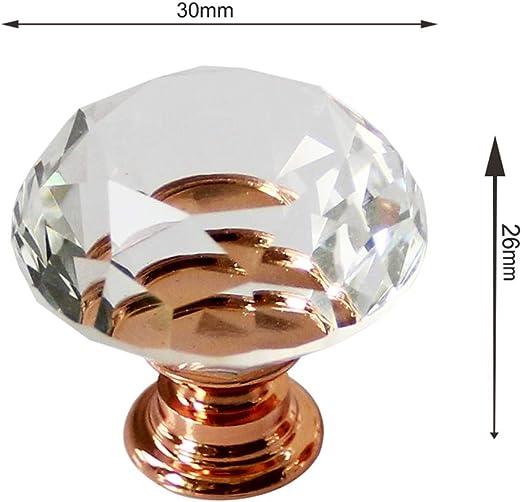 10 Pack Diamante Pomos Tiradores de Cristal Cristalino Perilla Pomos de Cristal para Muebles con Tornillos Aabinete Armario Cajones Amarillo