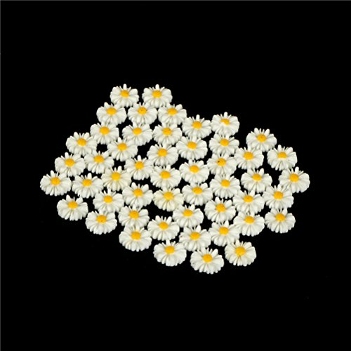 (Figurines Miniatures - 50pcs 13mm Diy White Daisy Flower Resin Flatback Cabochon Jewelry Phone Decoration No Hole Home - Silver Miniatures Figurines Metal People)