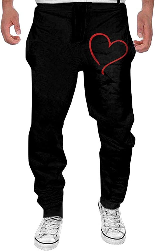 Mens Heart Love Sport Cotton Jogger Pants,Running Beam Trousers