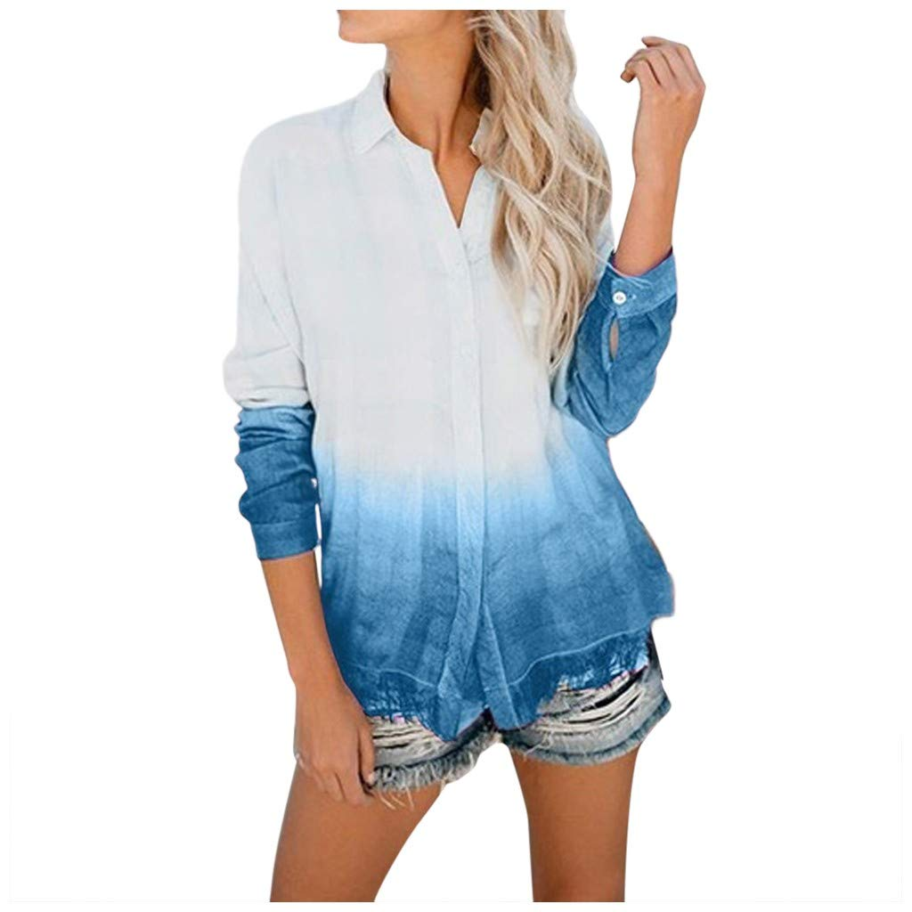 AmyDong Women's Casual Loose V-Neck Blouse Long Sleeve Loose Sexy Button Down T-Shirt Fashion Tie Dyeing Top S-2XL Sky Blue by AmyDong Women Blouse