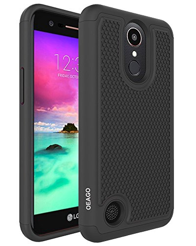 LG K20 Plus Case, LG K20 Case, LG K20 V K20V Phone Case, LG Harmony Case, LG Grace LTE Phone Case, OEAGO [Shockproof] Hybrid Dual Layer Defender Protective Case Cover - Black