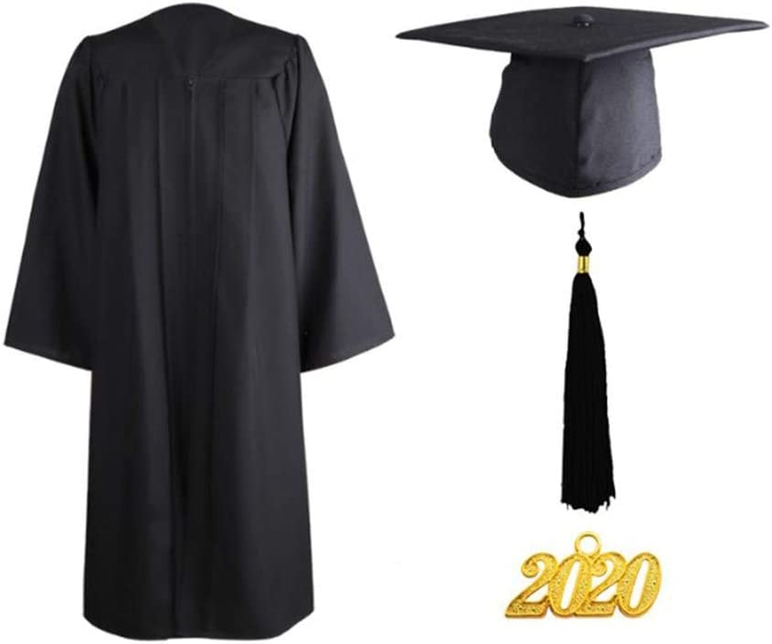 Ploufer Vestidos Matte Graduaci/ón Bata Cap Tassel 2020 Charms For Bachelor and Ceremony For Bachelors Or Masters Ceremony Graduation Outfit Necessity