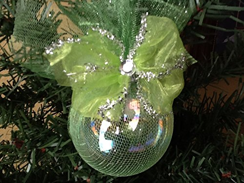 Glass Ornament with Lime Tulle, Rhinestone, and Lime bow (1009 Glasses)