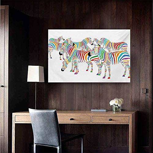 "duommhome Funny Modern Oil Paintings Colorful Cute Animal Herd with Rainbow Stripes Figure Digital Art Print Modern Safari Canvas Wall Art 32"" Wx24 L Multicolor"