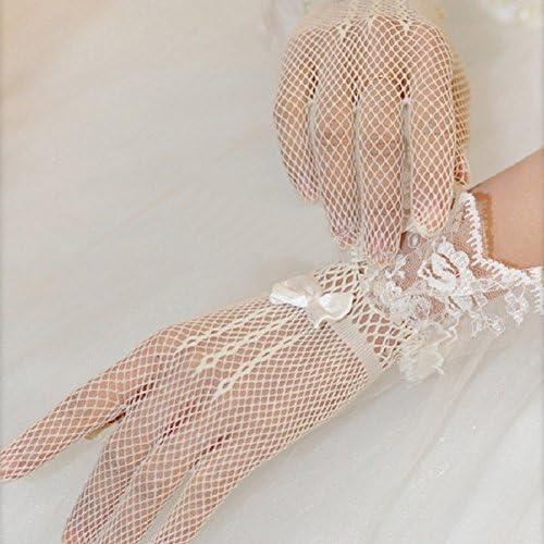 フリル レース ラッフル リボン 手袋 ( ホワイト ) ブライダル フィッシュネット メッシュ グローブ ドレス フォーマル 結婚式 コスプレ
