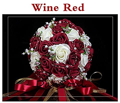 DanSoul Artificial Bridal Bouquets Foam Roses Pearl with Laces Ribbon Bride Wedding Hand Holding Flowers (Wine - Rose Bouquet Wedding Invitations