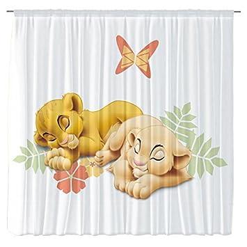 Amazon.de: Foto Vorhang/Gardine Motiv Simba und Nala Babylöwen aus