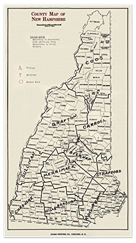 Large County MAP of NEW HAMPSHIRE circa 1929 - measures 24