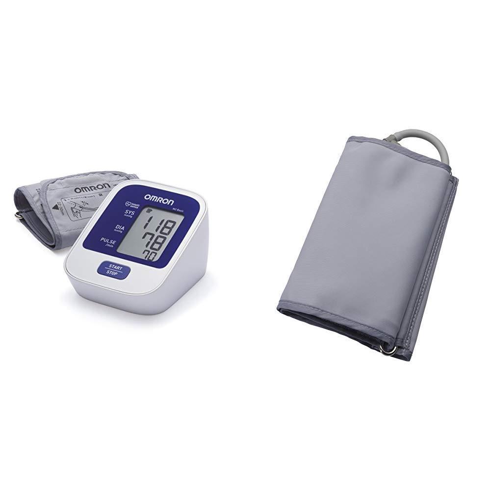 OMRON M2 Basic - Tensiómetro de brazo digital, tecnología Intellisense para dar lecturas de presión arterial rápidas, cómodas y precisas + Manguito Grande ...