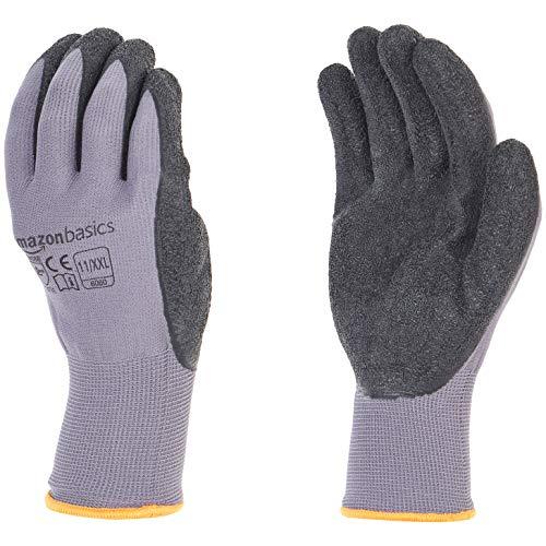 AmazonBasics Latex Coated Work Gloves, Nylon Liner Fiber, Grey, Size 11, XXL, 12-Pair
