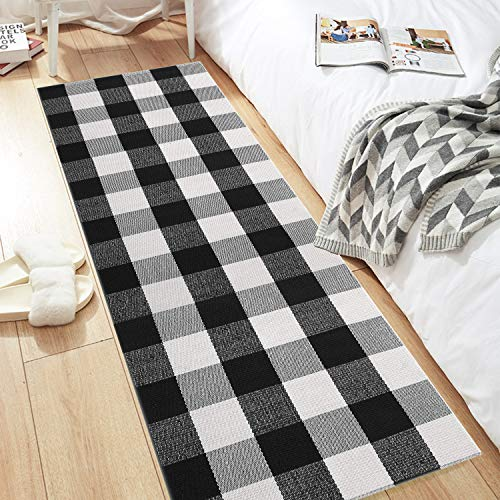 MUBIN Buffalo Plaid Check Runner Rug Reversible 2 x 6 ft Cotton Black and White Checkered Washable Rug for Kitchen, Laundry, Bedroom, Bathroom, Entry (2' x 6', Black&White)