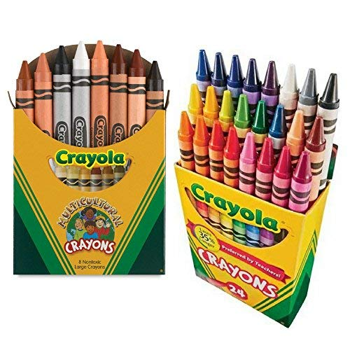 Crayola Multicultural Crayons Assorted, Non-Toxic Box of 8, Bundled With a Box of 24 Crayola -