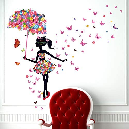 Kibi Muursticker Vlinder Fairy Slaapkamer Woonkamer Muren Meisje Vlinder Bloem Fairy Sticker