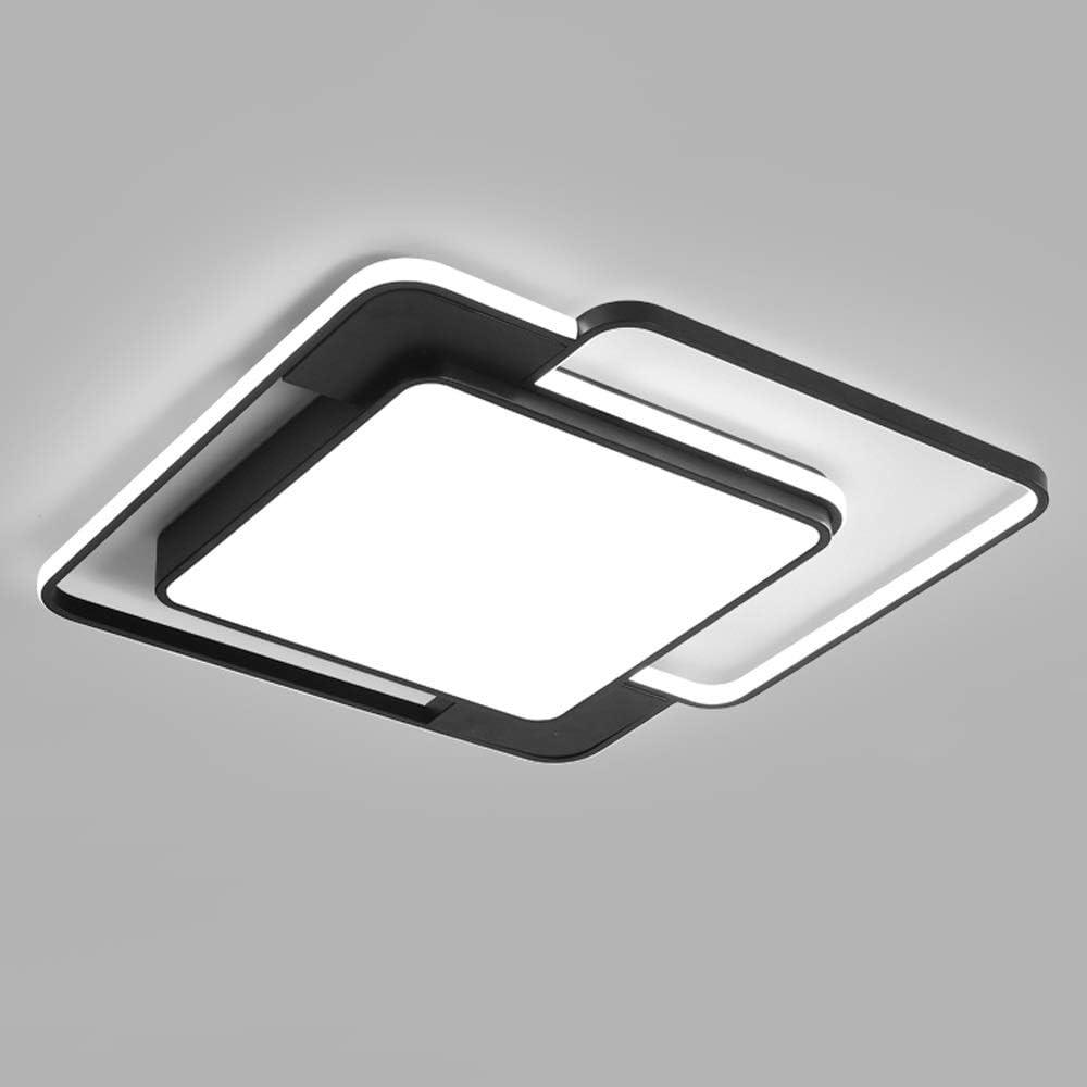Aiqiyi Ambiance Maison Noir et Blanc Lampe de Chambre Lampe de Chambre Accueil Chaud Romantique Plafonnier Lampe de Salon Simple Moderne Carré Forme LED Plafonnier LED Lumière Blanche