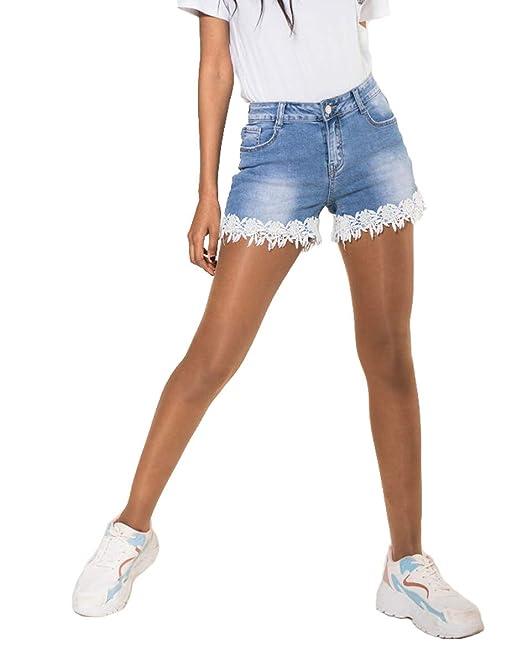 Nina Carter Pantalones Cortos Vaqueros para Mujer Short ...