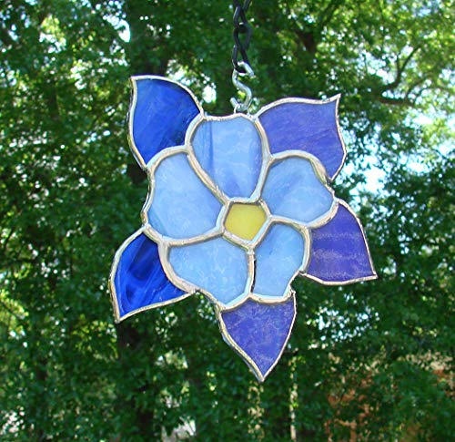 (Columbine Flower Bloom Handmade Blue and White Aquilegia Stained Glass Sun Catcher )