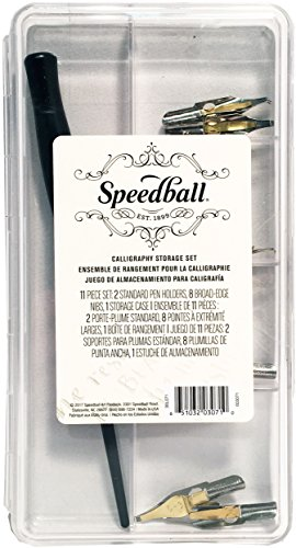 Speedball 003071 Calligraphy Storage Set - Pen Holder and Pen Nibs Set - 10 Piece Set