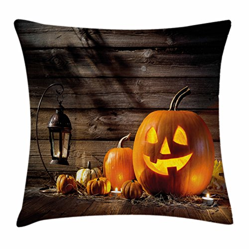 Lunarable Halloween Throw Pillow Cushion Cover, Grinning Expression Pumpkin Country House Squash Bunch on Wooden Planks Image, Decorative Square Accent Pillow Case, 28 X 28 inches, Brown Orange