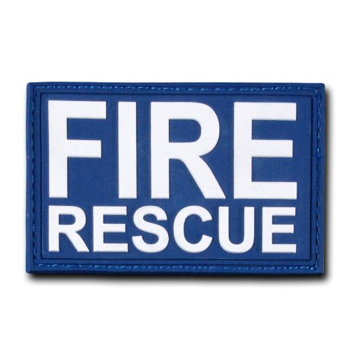 Fire Rescue Patch - Rapdom Tactical Fire Rescue Rubber Patch, Navy, 3 x 2-Inch