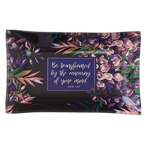 Christian Art Gifts Be Transformed Glass Trinket Tray in Navy with Floral Design - Romans 12:12