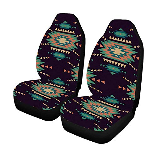 INTERESTPRINT American Indian Motifs Background with Aztec Tribal Ornament Auto Seat Covers Full Set of 2, Vehicle Seat Protector Fit Car, Truck, SUV,Van