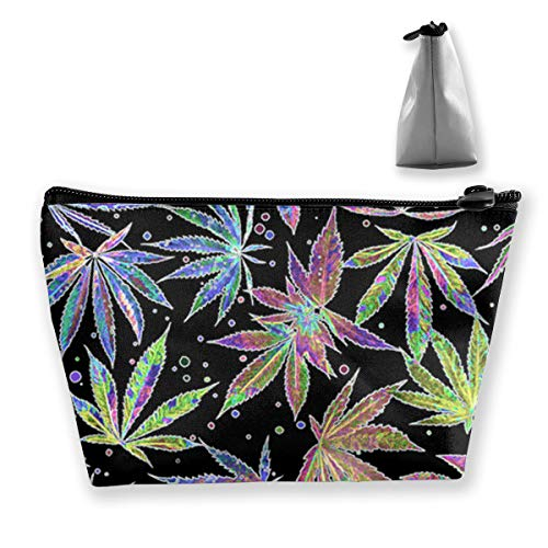 Casual Make Up Bag Tote Bag, Colorful Neon Pot Leaf Weeds Party Travel Makeup Train Case Pouch Large Capacity Carry On Bag, Luggage Pouch, Makeup Pouch] for Women Girls Ladies (Weed Leaf Neon)