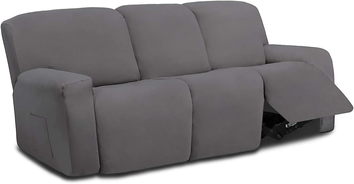 Easy-Going 8 Pieces Microfiber Stretch Sectional Recliner Sofa Slipcover Soft Fitted Fleece 3 Seats Couch Cover Washable Furniture Protector with Elasticity for Kids Pet(Recliner Sofa,Light Gray)