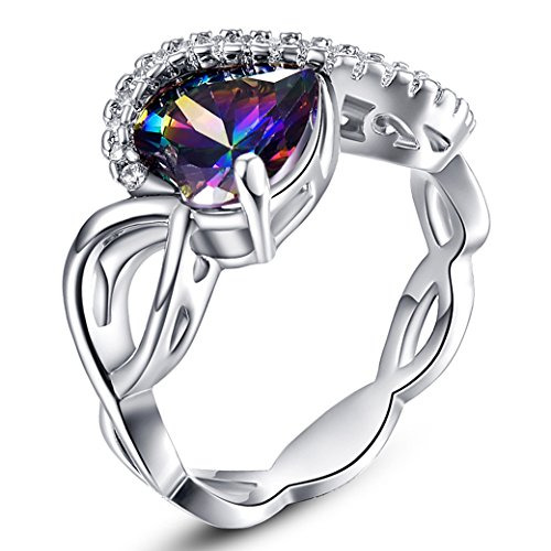 Narica Women's Fashion 8mmx8mm Heart Shaped Celtic Knot Rainbow Topaz Ring Band