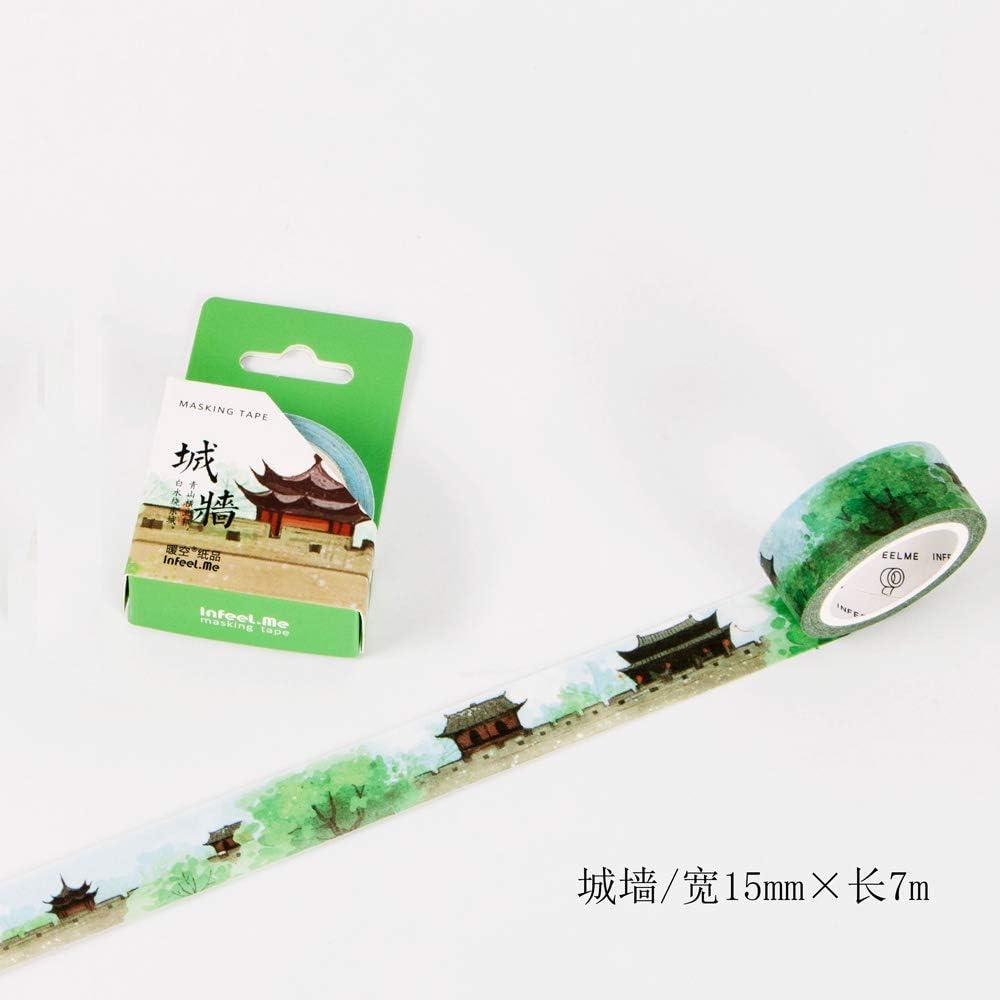 YFB Antike Hand Konto und Papierband volle Rolle 30mm erf/üllt das Buch der Lieder chinesischen Stil Zeichen dekorative Aufkleber Spitze antiken Stil Klebeband-Scorching