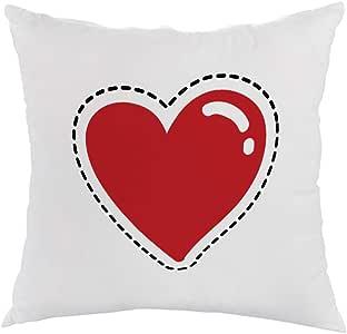 Printed Pillow, white velvet Fabric 40X40 cm, Red heart