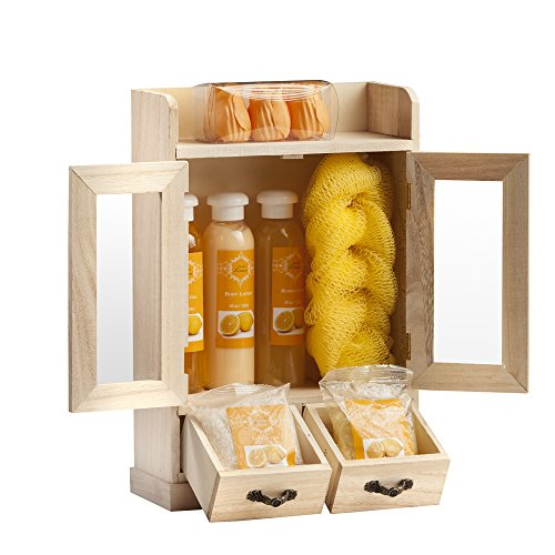 Brubaker Cosmetics 10 Pcs Beauty Gift Set Women Wooden Cabinet Lemon