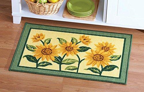 [해외]해바라기 꽃 짜기 악센트 양탄자/Sunflower Floral Woven Accent Rug