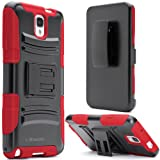 i-Blason Samsung Galaxy Note 3 Note III N9000 Prime Series Dual Layer Holster Case with Kickstand and Locking Belt Swivel Clip (Red)
