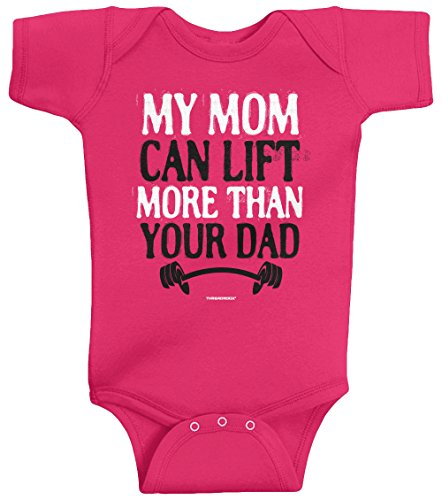 Threadrock Unisex Baby My Mom Can Lift More Than Your Dad Bodysuit 6M Hot Pink