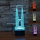 3D Twin Tower Night Light Table Desk Optical Illusion Lamps 7 Color Changing Lights LED Table Lamp Xmas Home Love Brithday Children Kids Decor Toy Gift
