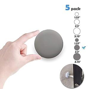 """Neoera Door Stopper Wall, 2.3"""" Round Soft Rubber Door Stop, Silicon Wall Protector, Premium Self Adhesive Door Bumper (Gray, 2.3"""" 5 Pack)"""