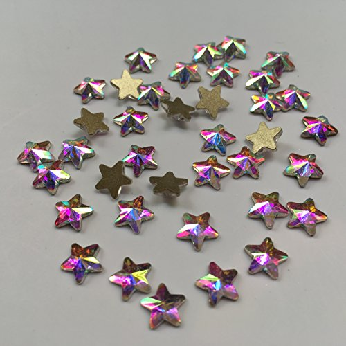 (MIOBLET 30pcs Crystal AB 3D Nail Art Rhinestones Gems Flatback Stones DIY Decorations Manicure Diamond Jewelry For Nails Accessories (6x6mm Crystal AB Star))