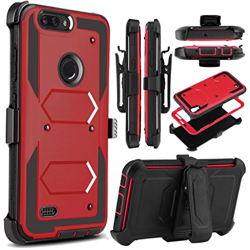 KooJoee Red Armor Defender Case Compatible with ZTE Blade Z MAX/Sequoia Z982/ZMax Pro 2, Heavy Duty Shockproof[Kickstand][Swivel Belt Clip] Full Body Rugged Holster With Built-in Screen Protector