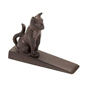 1 X Decorative Cast Iron Sitting Kitten Doorstop in Kitty Cat Figurines Home Decor and Gifts for Pet Lovers