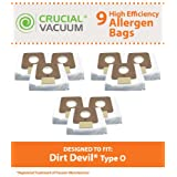 9 Dirt Devil Replacement Allergen Pack Bags Designed To Fit Dirt Devil Type O Tattoo Canister Vacuums; Compare To Part # AD10030, 304235001, 3-04235-00; Designed & Engineered By Crucial Vacuum