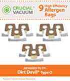 9 Dirt Devil Replacement Allergen Pack Bags Designed To Fit Dirt Devil Type O Tattoo Canister Vacuums, Compare To Part # AD10030, 304235001, 3-04235-00, Designed & Engineered By Crucial Vacuum