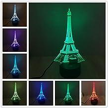 YANGHX 3D illusion Eiffel Tower Desk Lamp Table Light 100~240v Night 7 Color change LED desk table light lamp (Color: Multicolor)