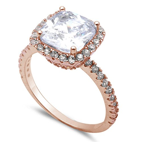 Oxford Diamond Co Sterling Silver 3ct Two Tone Cushion Cut Fine Cubic Zirconia Ring Sizes 6-8 (Rose Gold Plated Clear Cubic Zirconia, 6)