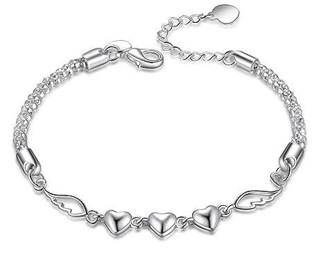df99cf908a63 Hosaire Pulseras de plata de Corazón Regalo Pulseras Nuevo Estilo para  Mujeres de la Joyería Accesorios
