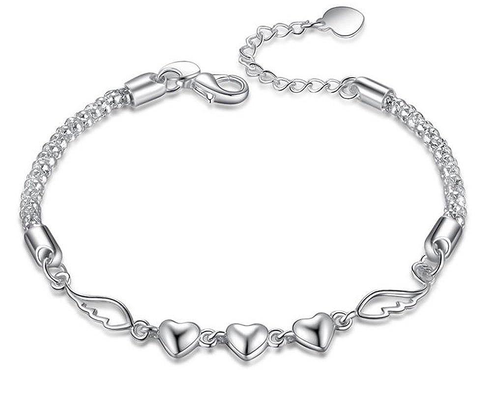Lovind Fashion Bracelet Three Hearts Silver Plated Delicate Fancy Design Bracelet Girl Birthday Gift