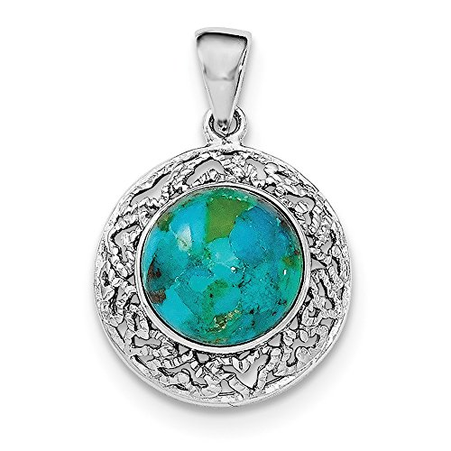 Turquoise Low Cut (Sterling Silver with Reconstituted Simulated Turquoise Pendant)