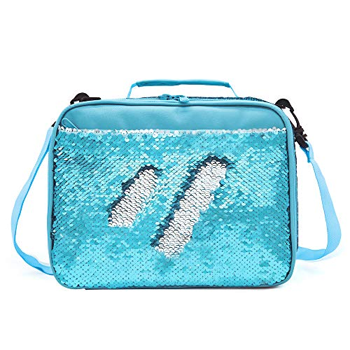Mermaid Lunch Box for Girls Flip Sequin Insulated School Lunch Bag Durable Thermal Reusable Lunch Tote Glitter (Aqua Blue)