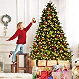 Goplus 7FT Artificial Christmas Tree Pre-Lit Spruce Hinged Tree w/ 460 LED Lights and Pine Cones (7 ft)