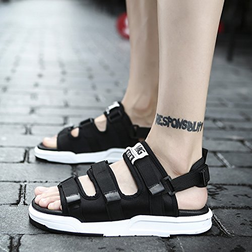 HGTYU Summer New Style Korean Tide Sandals Men Leisure Skidproof Soft Bottom Slippers Black Forty-four 1hfnCPe2