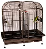 "Piilani Plantation Extra Large Double Bird Cage with Double Divider - Double Parrot Cage - Perfect for Large Parrots/Birds, African Greys, Macaws, Cockatoos - Platinum - 64""W X 32""D X 70""H"